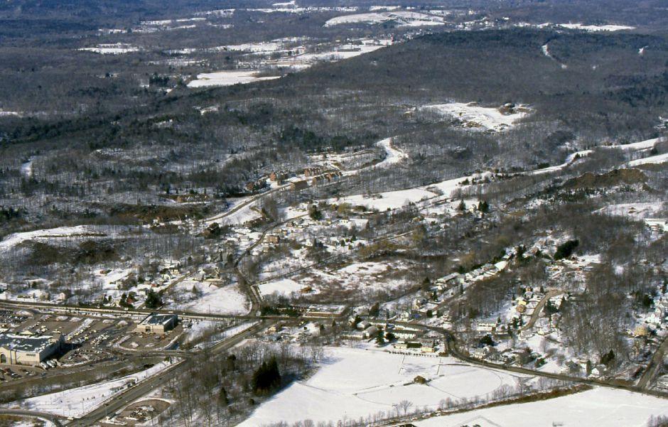 RJ file photo - Looking north in Meriden, showing the mall in the lower left corner, Feb. 28, 1994.