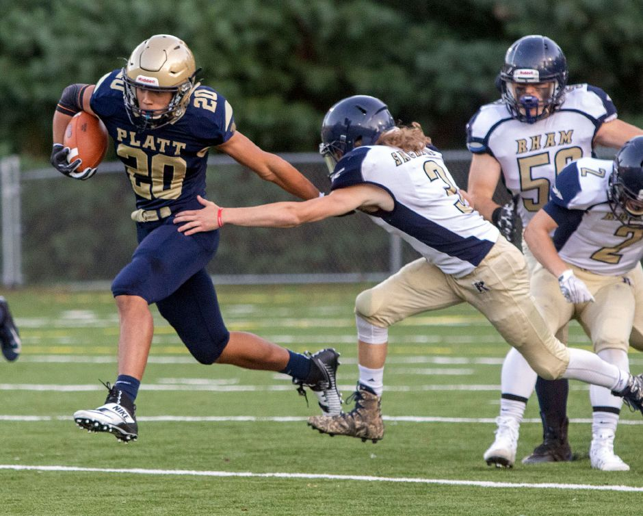Roberto Salas rushed for 196 yards in Platt's 21-14 loss on Friday night in Wethersfield. | Aaron Flaum, Record-Journal