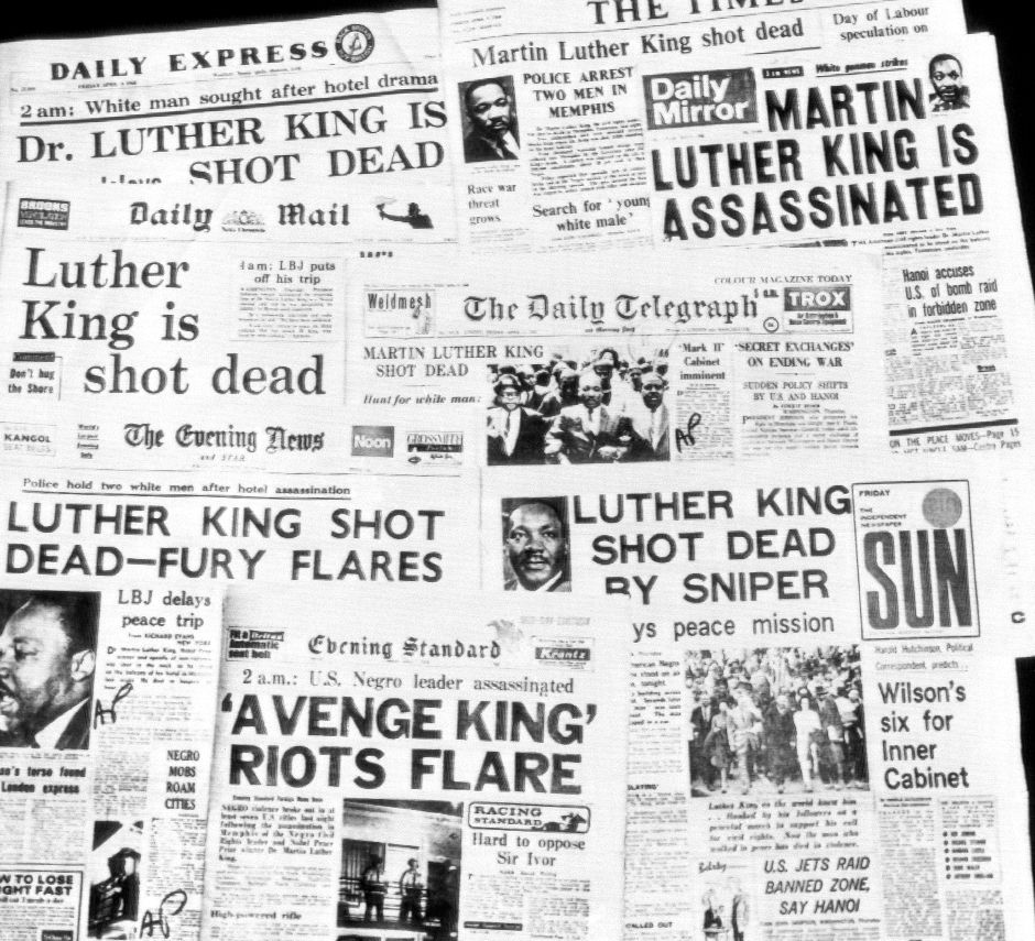 This is how the morning newspapers in London headlined the assassination of Dr. Martin Luther King, April 5, 1968. (AP Photo)