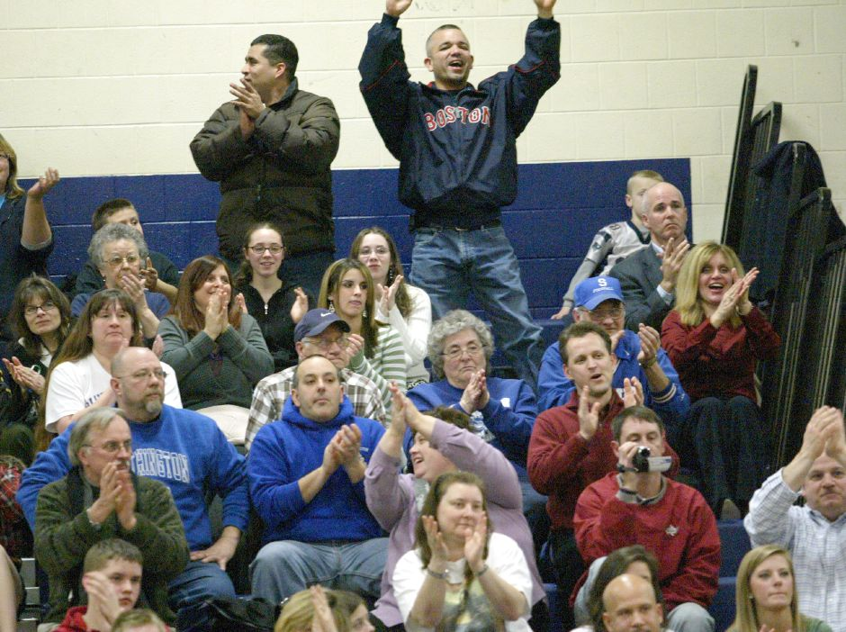 SOUTHINGTON, Connecticut - Wednesday, January 16, 2008 - Blue Knights fans cheer after Joe Dupuis pinned Danburys Kyle Kennedy in the 171 pound class in a nonconference match at Southington High School on Wednesday, Jan. 16, 2008. Rob Beecher / Record-Journal