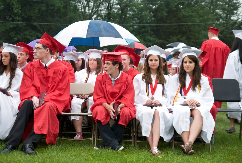 Soon-to-be Cheshire graduates pull out umbrellas as it begins to rain during the 2011 Commencement Exercises at Cheshire High School, June 22, 2011. Despite a forecast for rain and thunderstorms, the graduation was held outside. (Sarah Nathan/Record-Journal)