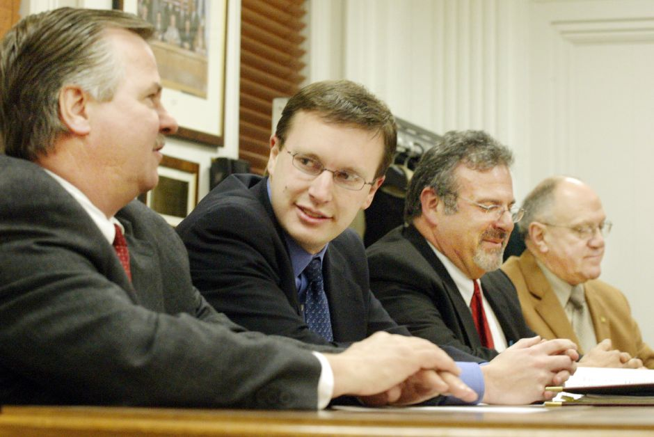 "Rep. John ""Corky"" Mazurek, 80th Dist., left, State Sen. Chris Murphy, 2nd from left, Rep. Bruce ""Zeke"" Zalaski, 2nd from right, and Rep. Bob Peters, right, met with the Southington Town Council Mon. night, Jan. 13, 2003."