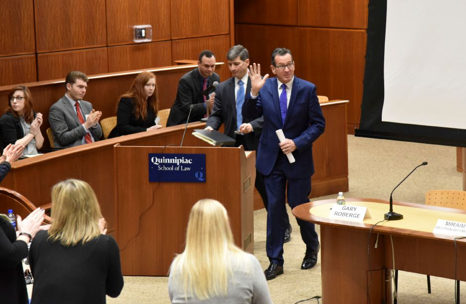 Connecticut Governor Dannel Malloy addresses a summit on the state of the opioid epidemic at the Quinnipiac University School of Law, on Friday, Nov. 9, 2018. | Bailey Wright, Record-Journal