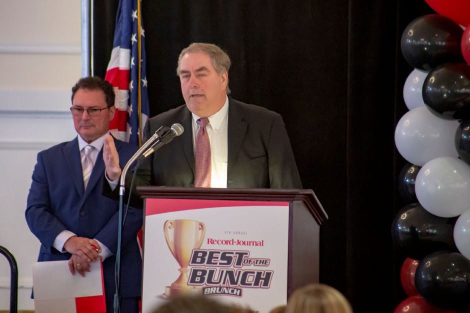 Keynote speaker Joe Linta, an NFL agent, addresses the crowd at the Record-Journal Best of the Bunch Brunch June 23, 2019 at the Aqua Turf in Southington. | Richie Rathsack, Record-Journal