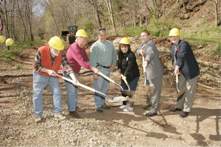 Mayor Mark Benigni, second from right, with Joe Zajac, left, Fran Zygmont, Dave Salafia, Lori Canney, and Mike Rohde, right during the groundbreaking ceremony at Red Bridge for the Quinnipiac River Gorge Trail Fri., April 28, 2006.