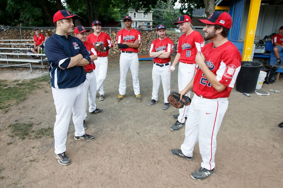 Head coach Marc Verderame and his Southington Post 72 team opened the American Legion state tournament Saturday with a 5-4 victory over Trumbull. | Justin Weekes / Special to the Record-Journal