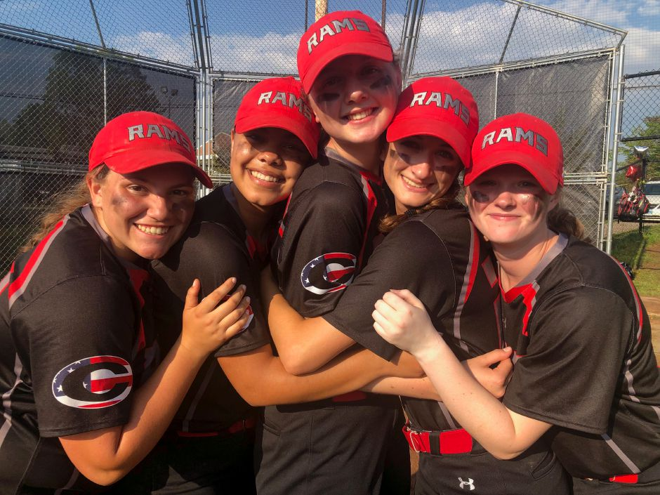 Cheshire's softball seniors – Lexie Hemstock, Jade Barnes, Mia Juodaitis, Bri Floyd and Zoe Kasinskas, from left to right – and plenty to celebrate Friday night after rallying to defeat North Haven 3-2 in eight innings in the SCC Tournament final.