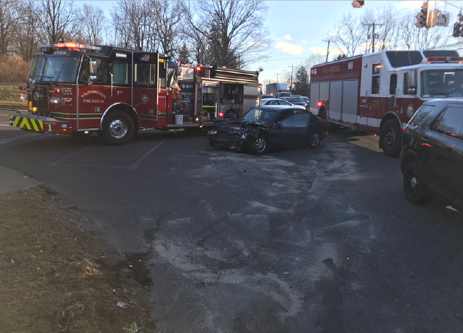 Units respond to car crash at West Street and West Queen Street in Southington on Friday afternoon.