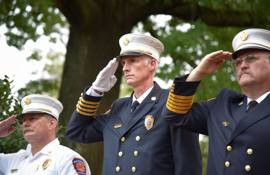 Wallingford Fire Deputy Chief Stephen Alsup (center) with other senior fire officials at a 9/11 remembrance ceremony at the Wallingford Town Hall on Tuesday, September 11, 2018. | Bailey Wright, Record-Journal