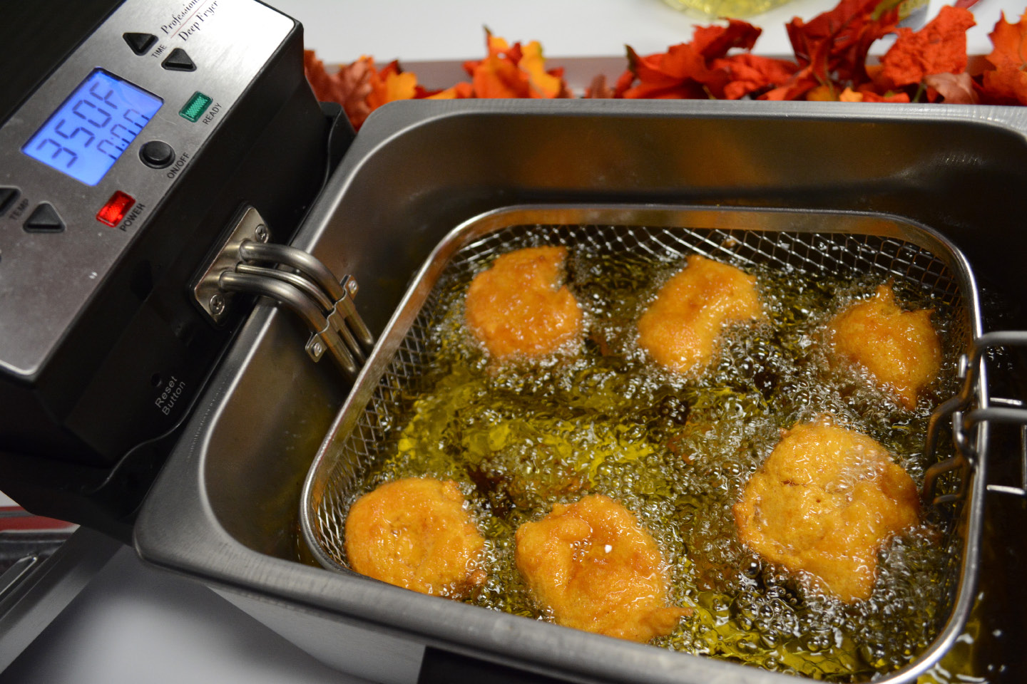 Fritters in the deep fryer.| Bryan Lipiner, Record-Journal