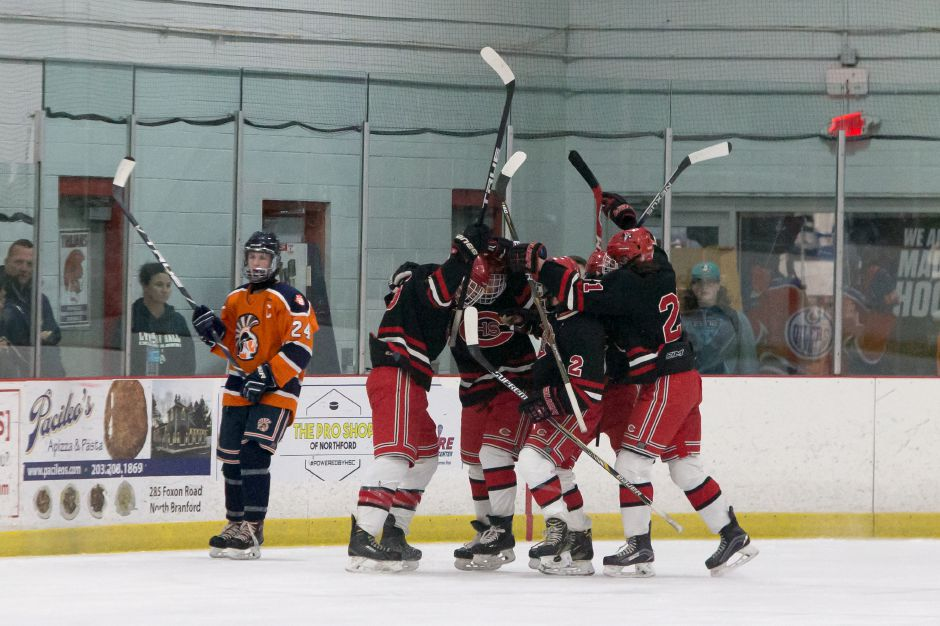 Cheshire celebrates getting on the board 16 seconds into the game with a goal from Evan Veivia.