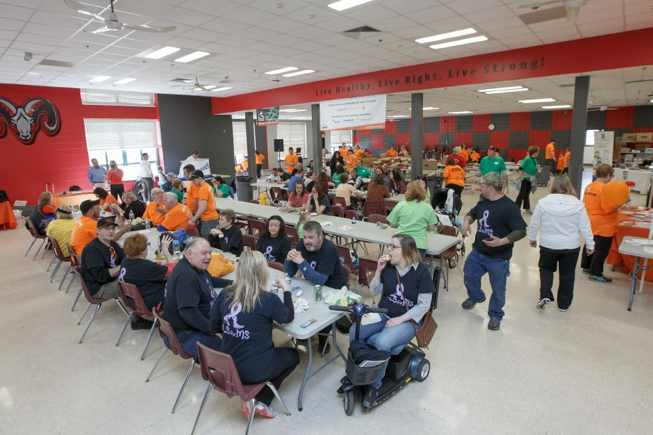 Walkers were treated to lunch after the walk Sunday during the Walk MS fund raiser to help fight multiple sclerosis at Cheshire High School in Cheshire April 22, 2018 | Justin Weekes / Special to the Record-Journal