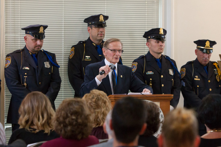 Chief Robert Kosienski retired surrounded by Meriden Police accepts the honor Sunday during the 41st Annual Meriden Hall of Fame induction ceremony held at the Augusta Curtis Cultural Center in Meriden on Sunday, October 22, 2017. | Justin Weekes, special to the Record-Journal