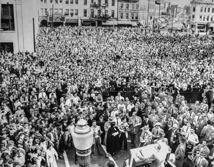 President Harry S. Truman addresses a crowd estimated at 20,000 in downtown Meriden on Oct. 16, 1952.| File photo, Record-Journal