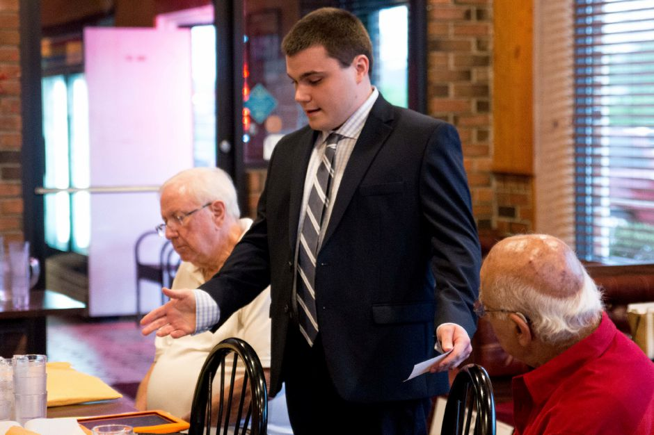Steve Baleshiski accepted the nomination for the Republican ticket for the 30th district, currently held by Speaker of the House Joe Aresimowicz. THe convention was held May 16 at Central Pizza in Berlin. | Devin Leith-Yessian/Record-Journal
