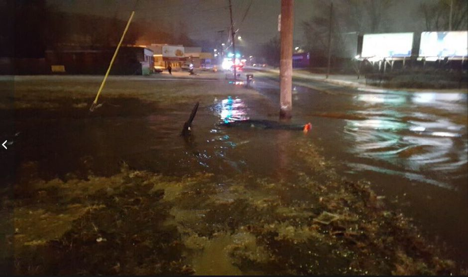 A section of Middletown Avenue flooded early Thursday after a car struck a fire hydrant. (Photo Courtesy of North Haven Police)