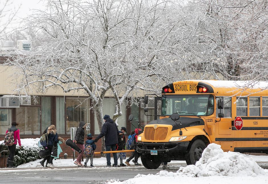 Thomas Hooker Elementary School students head to their buses at the end of the school day, Mon., Dec. 2, 2019. Dave Zajac, Record-Journal