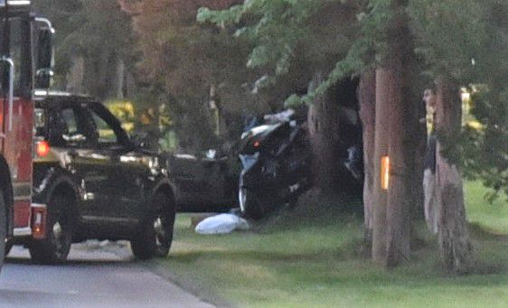 The driver of a vehicle that crashed into a tree on Savage Street in Southington was transported to a hospital with injuries on Wednesday night. | Bailey Wright, Record-Journal
