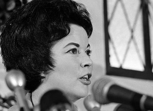 Shirley Temple Black is shown in San Mateo, Calif., during a news conference where she announced her candidacy for Congress in San Mateo, Aug. 29, 1967.  (AP Photo/Sal Veder)