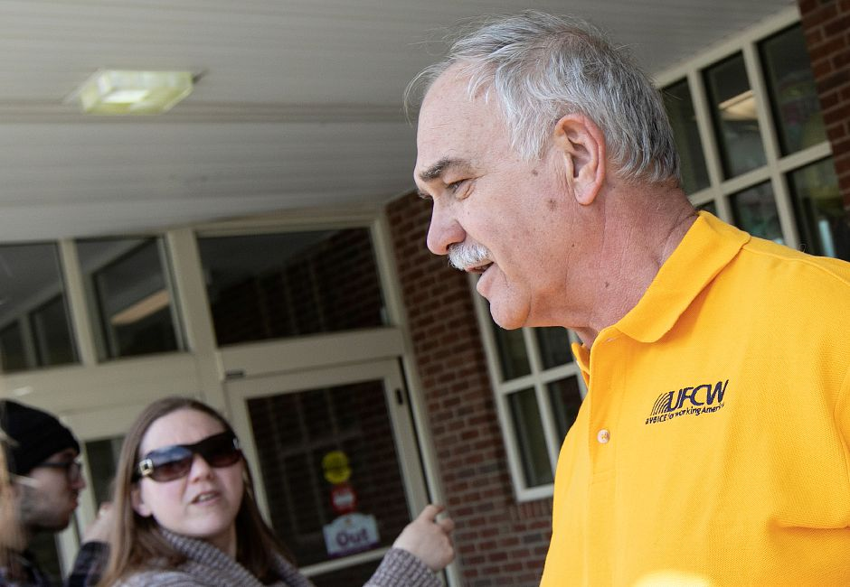 Frank Cyphers, president of the International Chemical Workers Union Council of the UFCW, speaks in front of Stop & Shop in Meriden, Mon., Apr. 15, 2019. Dave Zajac, Record-Journal
