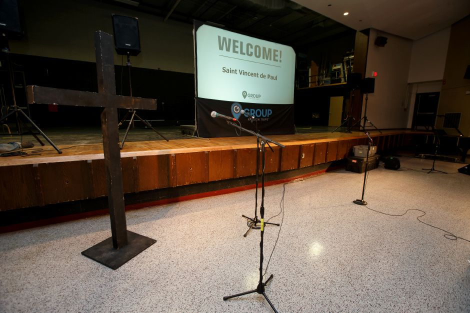 The auditorium has been converted to a media and entertainment area for the Group Mission Trips work force for next week Friday at Sheehan High School in Wallingford July 6, 2018 | Justin Weekes / Special to the Record-Journal