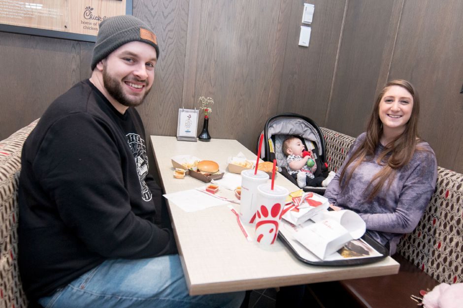 Ray and Jenel Frazier enjoy their first meal at Southington
