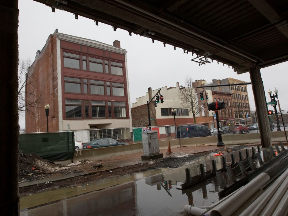 View of Colony Street from the first floor of the mixed-use building at 24 Colony St. in Meriden, Wednesday, February 24, 2016. | Dave Zajac / Record-Journal