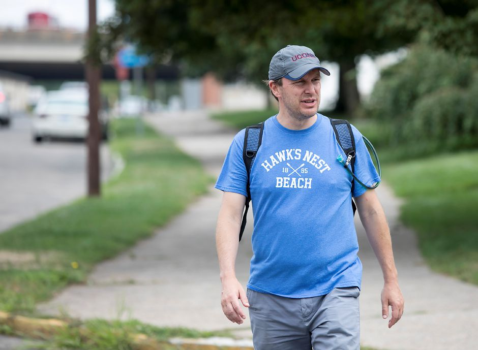 U.S. Senator Chris Murphy walks along State Street in Meriden as part of his walk across Connecticut, Tuesday, August 15, 2017. | Dave Zajac, Record-Journal