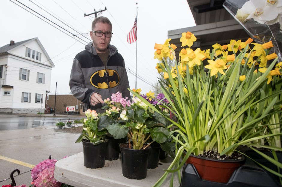 John Sipper of Southington searches for a plant Saturday during the Annual Easter Flower Sale at Engine Company Number 2 in Plantsville, April 20, 2019 | Justin Weekes / Special to the Record-Journal