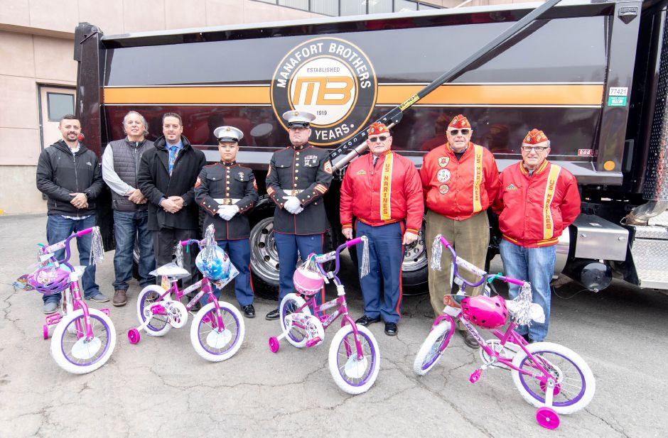 Manafort Brothers Inc donated 100 bikes to the Marine Reserves Toys for Tots program on Dec. 12, 2018. | Devin Leith-Yessian/Plainville Citizen