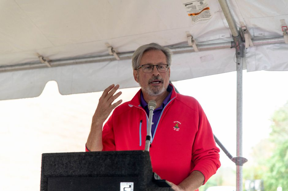 State Rep. William Petit Jr. speaks at the groundbreaking ceremony for Plainvilles Water Pollution Control center upgrade on Oct. 9, 2018. The upgrade will reduce the amount of phosporus the plant discharges into the Pequabuck River and increase resilience from flooding. | Devin Leith-Yessian/Plainville Citizen