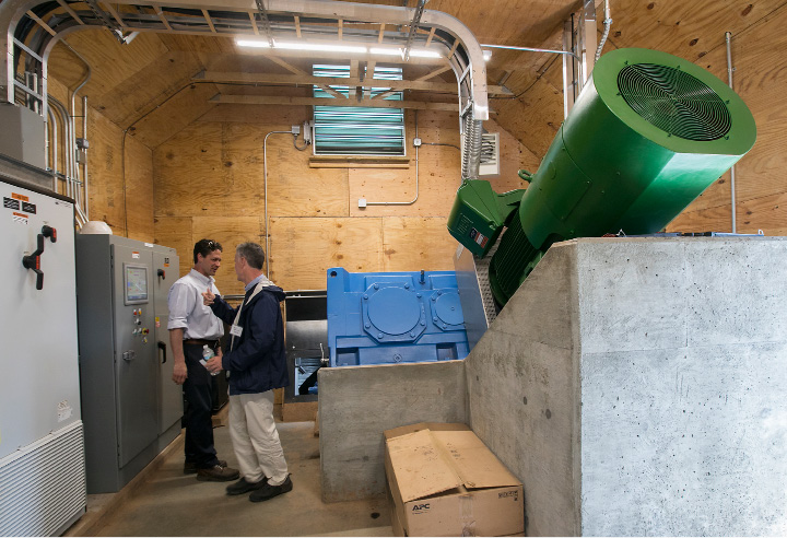The Archimedes Screw generator room at Hanover Pond Dam in Meriden, Wednesday, May 24, 2017. Meriden is the first city in the nation to install the technology of ancient Greek scientist Archimedes.    | Dave Zajac, Record-Journal