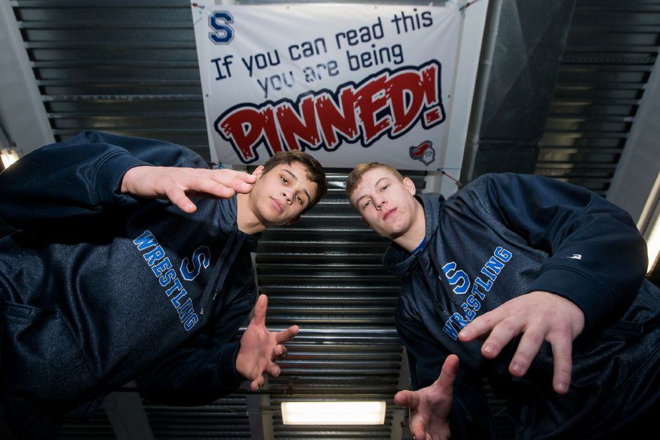 Southington wrestlers Jacob Cardozo, left, and Billy Carr, right, won Class LL state championships last weekend in Trumbull — Cardozo at 145 pounds, Carr at 170. They lead a 14-man area contingent into this weekend's State Open at the Floyd Little Athletic Center in New Haven. Justin Weekes, special to the Record-Journal