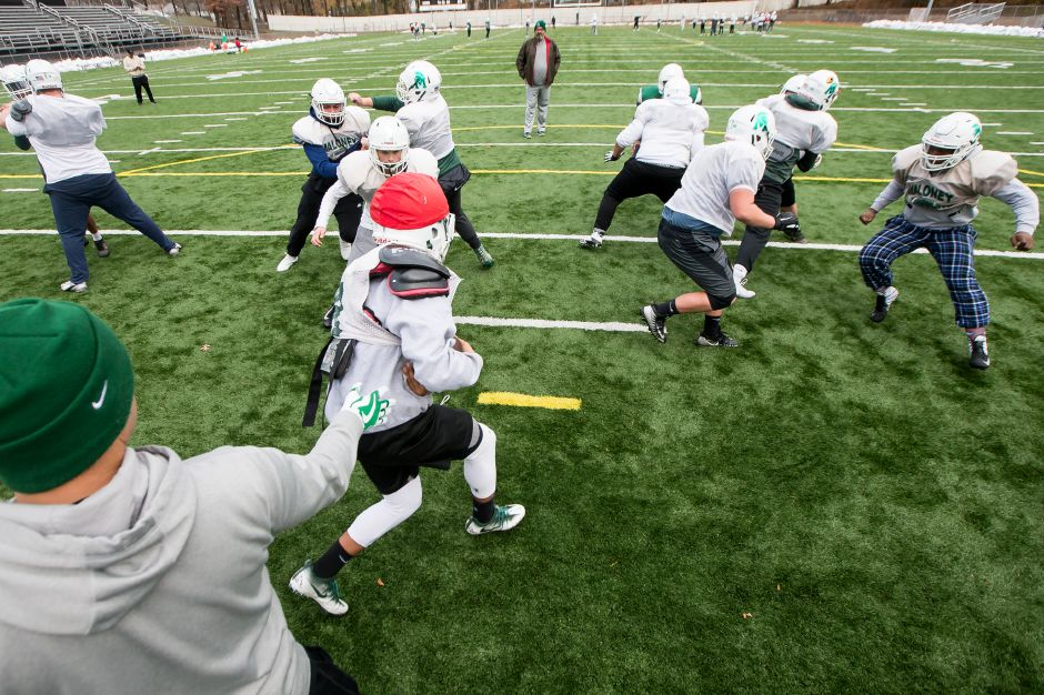 Sunday during practice at Falcon Field as the Spartans prepare for Middletown in the CIAC Class L football tournament November 25, 2018 | Justin Weekes / Special to the Record-Journal