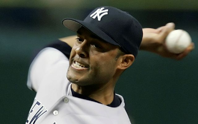 FILE - In this Sept. 25, 2006, file photo, New York Yankees pitcher Mariano Rivera throws a seventh inning pitch against the Tampa Bay Devil Rays during a baseball game in St. Petersburg, Fla. Rivera will be inducted into the Baseball Hall of Fame on Sunday, July 21, 2019. (AP Photo/Chris O