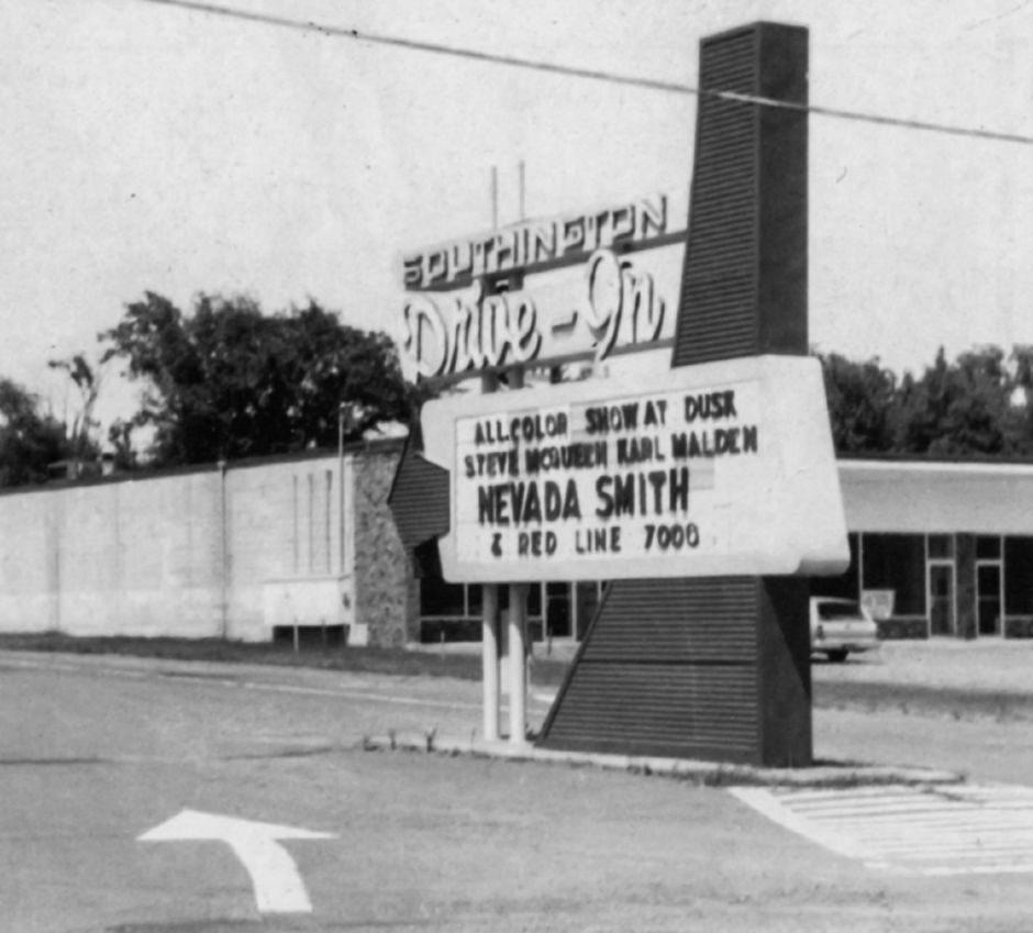 Southington Drive-in entrance, July 1966. | Courtesy of the Southington Historical Society