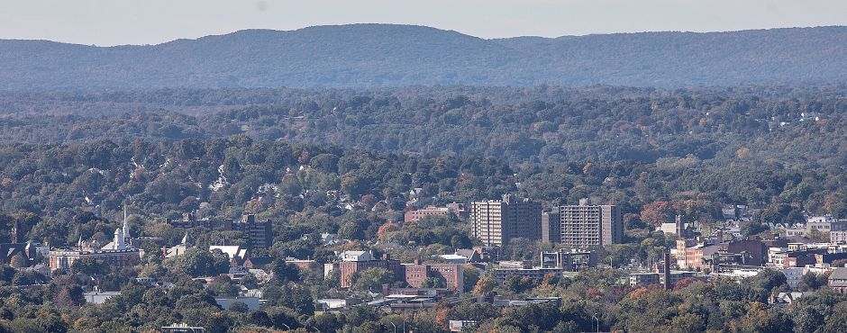 A zoomed-in view of downtown Meriden from Chauncey Peak in Meriden, Friday, Oct. 19, 2018. Dave Zajac, Record-Journal