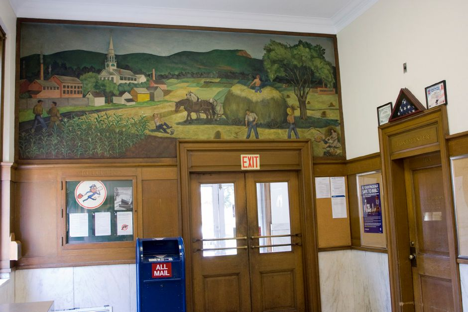 In the lobby of the Southington post office is a mural depicting the industry and some of the landmarks of the town. It was painted by Ann Hunt Spencer, who studied art in Paris. Record-Journal file photo