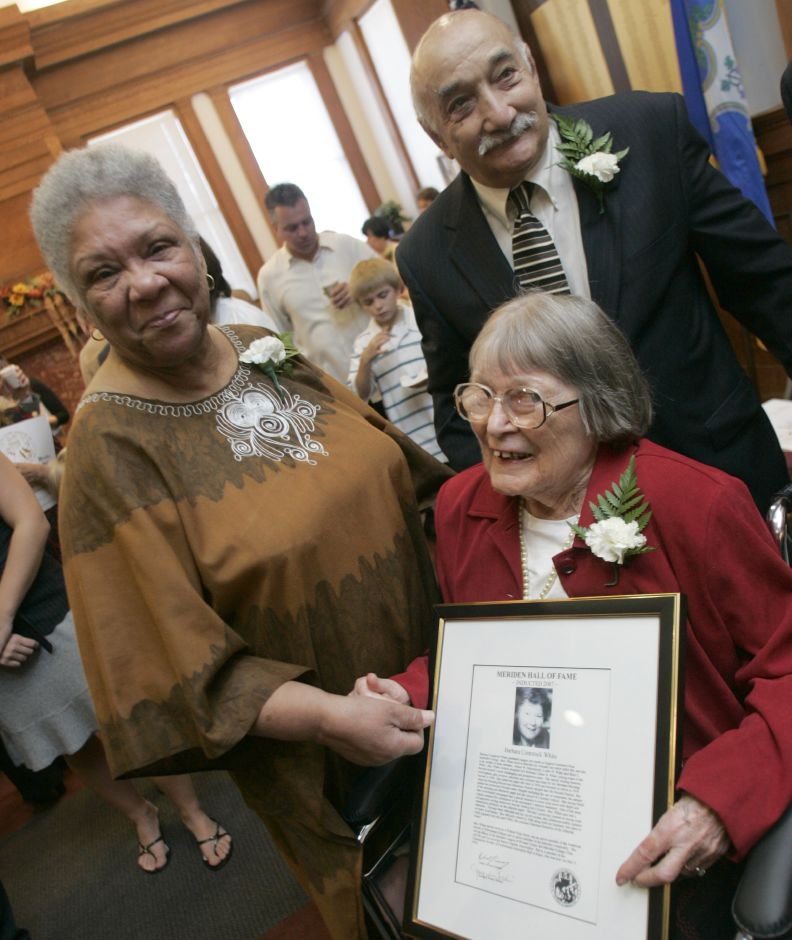 Meriden Hall of Fame inductees left to right include Swanee(cq) Naamon(cq) who accepted on behalf of husband Edwin Leroy Naamon (1924-1992), Barbara Comstock White, and Joseph F. Carabetta are seen after the twenty-eighth annual ceremony held at Augusta Curtis Cultural Center in Meriden Sunday October 21, 2007. (dave zajac photo)