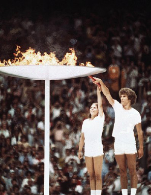 Lighting of the Olympic Flame during the 1976 Montreal Olympics, July 17, 1976. (AP Photo)