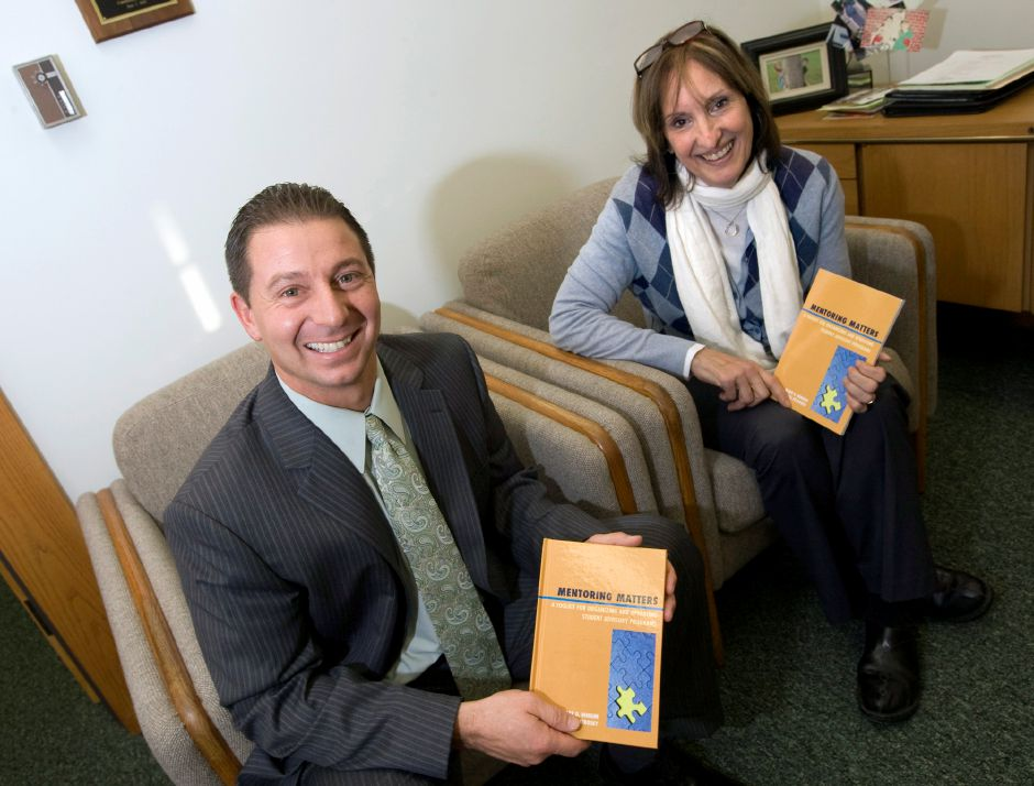 "Superintendent Mark Benigni and Meriden resident Sheryll Petrosky teamed up to write their book ""Mentoring Matters"" December 20, 2010. Petrosky taught math for 32 years and worked with Benigni in Cromwell. (Dave Zajac/Record-Journal)"