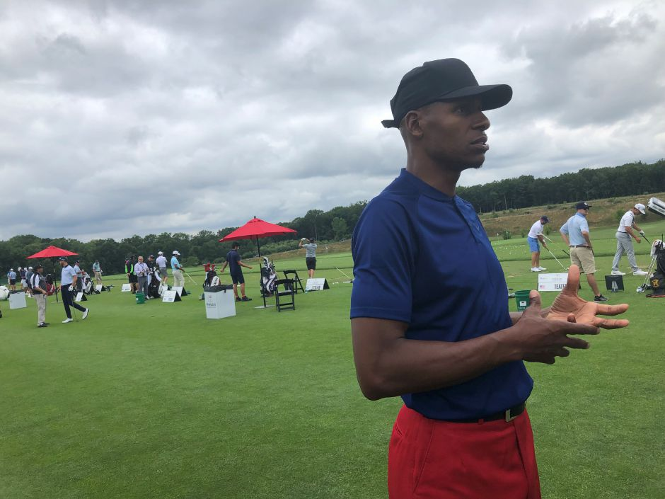 Ray Allen, recently deposed in the Kevin Ollie/UConn legal dispute, spoke passionately about the situation before playing in the Travelers Championship Pro-Am Wednesday at TPC River Highlands in Cromwell. Sean Krofssik, Record-Journal