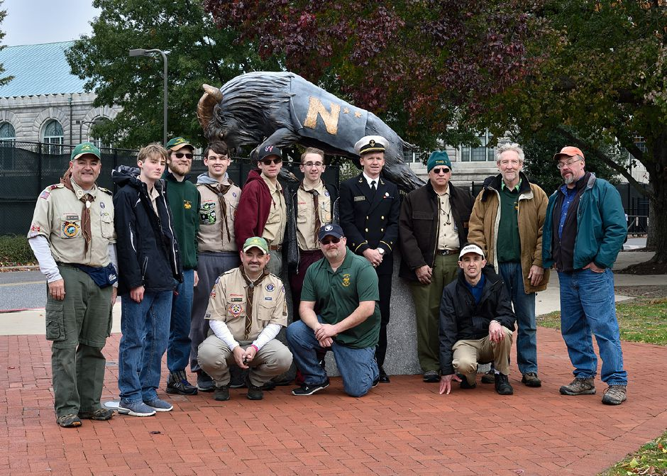 Troop 41 with MIDN 1/C George Davis in front of the Navy mascot.