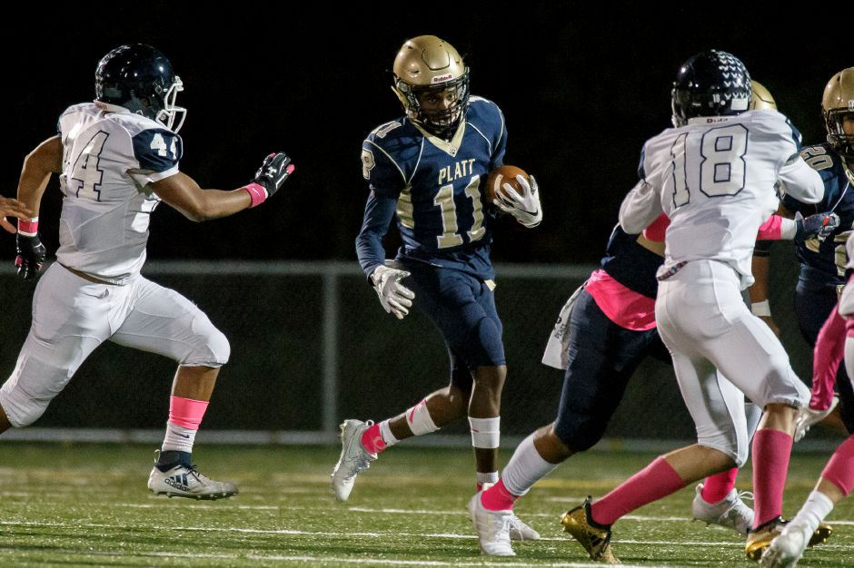 Tremayne Carter caught the game-winning pass from Lorenzo Sanson with 14.2 seconds to play in Platt's 14-6 victory Friday night in Storrs over E.O. Smith. | Justin Weekes / Special to the Record-Journal
