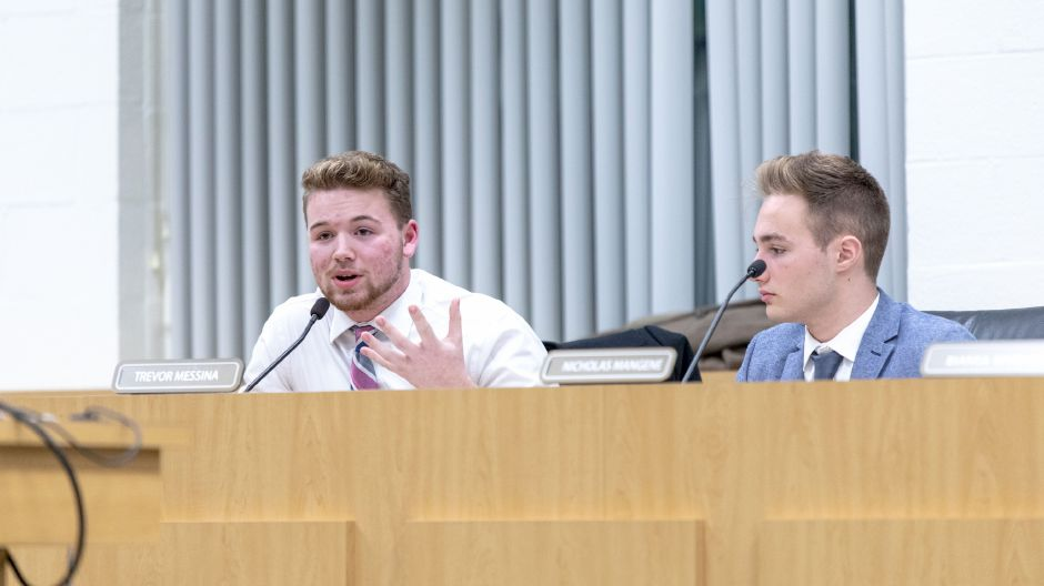 Southington Board of Education student representative Trevor Messina responds to parents and students sharing feeling discriminated against in the school system. They shared their experiences at a Board of Education meeting on Jan 10, 2019. | Devin Leith-Yessian/Record-Journal