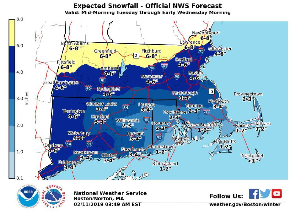 Up to 5 inches of snow forecast for Tuesday