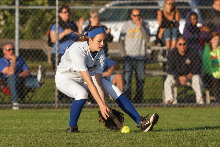 Southington's Emily Lippincott (26) fields a ground ball Saturday during a class LL final with Amity in West Haven  June,14 2014 | Justin Weekes / For the Record-Journal