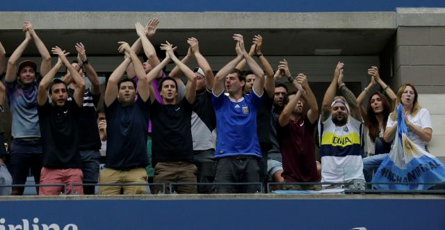 Fans cheer for Juan Martin del Potro, of Argentina, during a match against Rafael Nadal, of Spain, in the semifinals of the U.S. Open tennis tournament, Friday, Sept. 7, 2018, in New York. (AP Photo/Seth Wenig)
