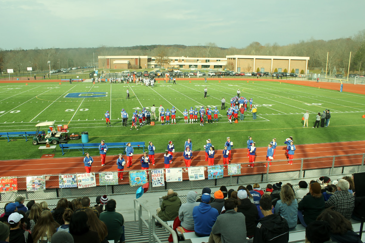 The athletic complex at Coginchaug Regional High School, shown here during the Thanksgiving Day football game, has been in operation for several years without lights or permanent bathrooms, which were part of the original plans. A public push has recently encouraged construction on the complex. | Mark Dionne, Town Times