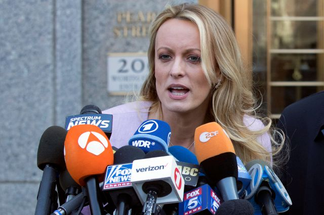 Adult film actress Stormy Daniels speaks outside federal court, Monday, April 16, 2018, in New York. (AP Photo/Mary Altaffer)